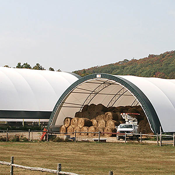 tent hangars for hay bales