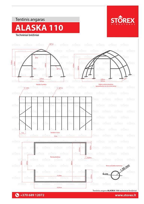 Technical drawings of tent hangar Alaska 110