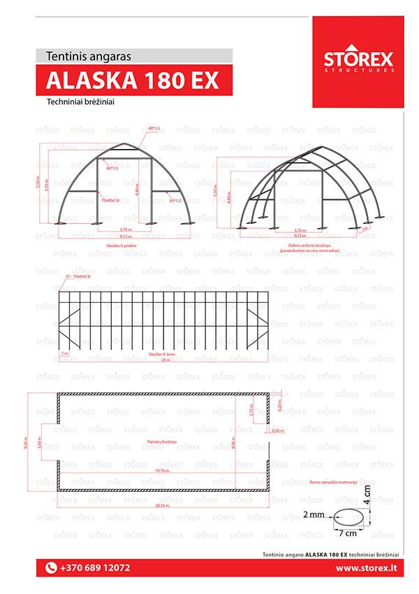 Technical drawings of tent hangar Alaska 180 Extreme
