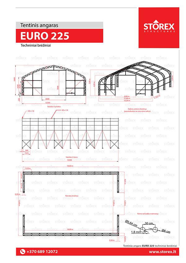 Technical drawings of tent hangar EURO 225