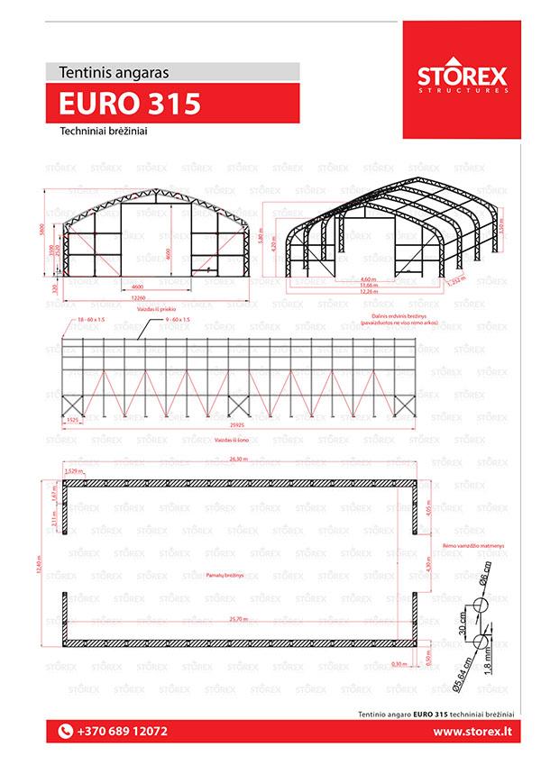 Technical drawings of tent hangar EURO 315