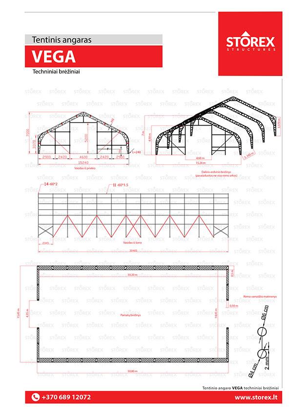 Technical drawings of tent hangar VEGA